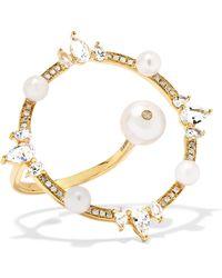 Anissa Kermiche - Orbite 18-karat Gold, Diamond And Pearl Ring Gold 7 - Lyst