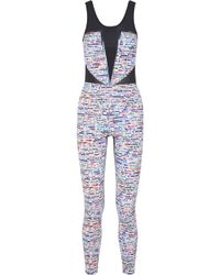Lucas Hugh - Glitch Mesh-paneled Printed Stretch-knit Bodysuit - Lyst