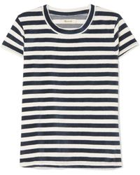 Madewell - Basil Striped Cotton-blend Velour T-shirt - Lyst