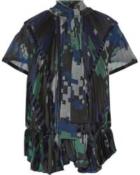 Sacai - Velvet-trimmed Pleated Printed Chiffon Top - Lyst