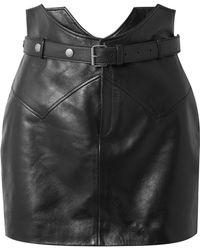 Saint Laurent - Belted Leather Mini Skirt - Lyst