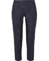 Lela Rose - Paillettenverziertes Oberteil Aus Tweed Mit Schößchen Und Fransen - Lyst