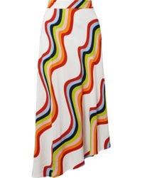 House of Holland - Asymmetric Printed Voile Midi Skirt - Lyst