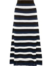 Sonia Rykiel - Striped Open-knit Wool-blend Midi Skirt - Lyst