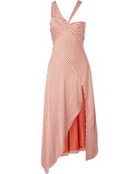 Jonathan Simkhai - Asymmetric Striped Sateen Dress - Lyst