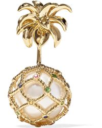 Yvonne Léon - 18-karat Gold, Pearl And Sapphire Earring Gold One Size - Lyst