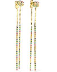 Gucci - 18-karat Gold Multi-stone Earrings Gold One Size - Lyst