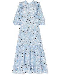 RIXO London - Monet Geblümtes Kleid Aus Einer Baumwoll-seidenmischung Mit Rüschen - Lyst