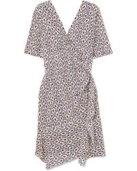Isabel Marant - Arodie Wrap-effect Printed Silk-blend Crepe De Chine Dress - Lyst