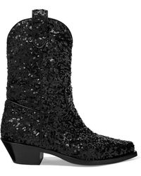 Dolce & Gabbana - Sequined Leather Ankle Boots - Lyst