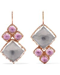 Larkspur & Hawk - Sadie Cluster Rose Gold-dipped Quartz Earrings Rose Gold One Size - Lyst