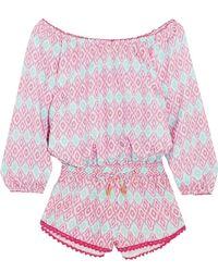 Paloma Blue - Hamptons Printed Silk-satin Playsuit - Lyst