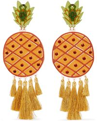 Mercedes Salazar | Fiesta Piñas Tasselled Gold-plated, Resin And Crystal Clip Earrings | Lyst