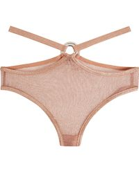 Agent Provocateur - Phoebe Metallic Stretch-mesh Briefs - Lyst