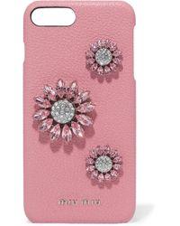 Miu Miu - Crystal-embellished Textured-leather Iphone 8 Plus Case - Lyst