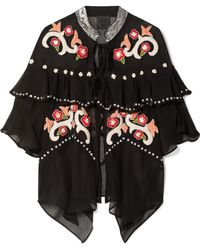 Anna Sui - Poppies Ruffled Embroidered Silk-georgette Jacket - Lyst