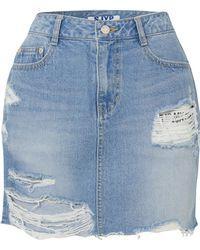 SJYP - Distressed Denim Mini Skirt - Lyst