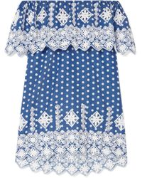 Miguelina - Agnes Off-the-shoulder Crocheted Polka-dot Cotton-voile Mini Dress - Lyst