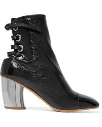Proenza Schouler - Lace-up Glossed Textured-leather Ankle Boots - Lyst