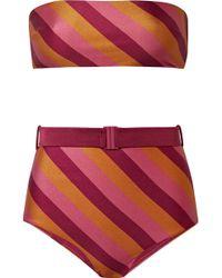 Zimmermann - Kali Belted Striped Bandeau Bikini - Lyst