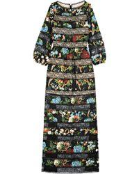 Alice + Olivia - Desma Lace-paneled Printed Satin Maxi Dress - Lyst