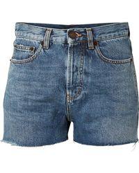 Saint Laurent - Embroidered Denim Shorts - Lyst