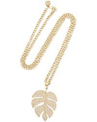 Sydney Evan - Extra Large Monstera Leaf 14-karat Gold Diamond Necklace Gold One Size - Lyst