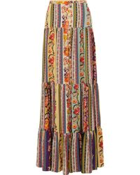 Etro - Tiered Printed Silk Crepe De Chine Skirt - Lyst