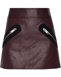 Versus - Twill-trimmed Leather Mini Skirt - Lyst