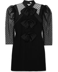 Givenchy | Bow-embellished Swiss-dot Tulle And Wool-crepe Mini Dress | Lyst
