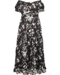 McQ - Off-the-shoulder Open-back Printed Satin-twill Midi Dress - Lyst