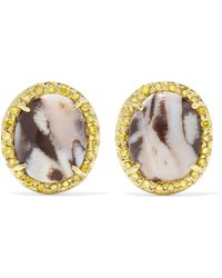 Kimberly Mcdonald - 18-karat Gold, Opal And Sapphire Earrings Gold One Size - Lyst