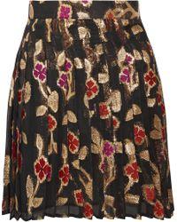 Dodo Bar Or - Jenn Pleated Metallic Fil Coupé Chiffon Mini Skirt - Lyst