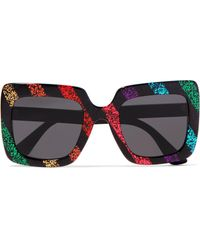 Gucci - Square-frame Glittered Acetate Sunglasses - Lyst