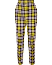 Versace - Checked Woven Straight-leg Pants - Lyst
