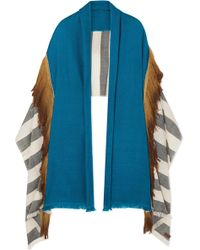 Melt - Fringed Striped Wool Wrap - Lyst