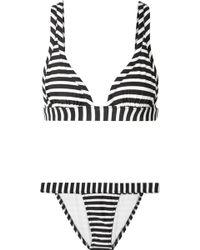 Norma Kamali - Banded Striped Triangle Bikini - Lyst