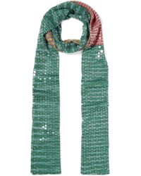 Missoni - Sequined Striped Crochet-knit Scarf - Lyst