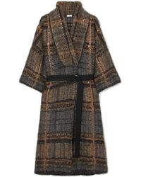 Brunello Cucinelli - Belted Sequined Mohair-blend Cardigan - Lyst