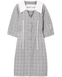 Sandy Liang - Leo Lace-trimmed Plaid Cotton And Crepe De Chine Dress - Lyst