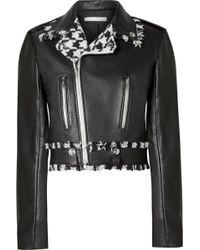 Oscar de la Renta - Frayed Tweed-trimmed Leather Biker Jacket - Lyst