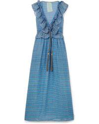 Yvonne S - Marie Antoinette Ruffled Printed Linen Maxi Dress - Lyst