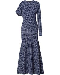 CALVIN KLEIN 205W39NYC - Asymmetric Prince Of Wales Checked Cady Maxi Dress - Lyst