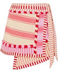 Dodo Bar Or - Hoze Striped Embroidered Cotton Wrap Mini Skirt - Lyst