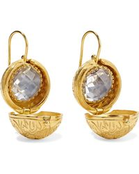 Larkspur & Hawk - Olivia Button Small Gold-dipped Quartz Earrings Gold One Size - Lyst