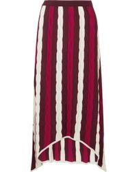 Marni - Asymmetric Striped Wool Maxi Skirt - Lyst