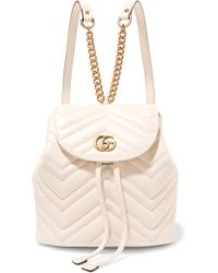 a35e88c1eb3b Lyst - Gucci Gg Marmont Quilted Leather Backpack in White