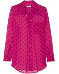 Equipment - Polka-dot Silk-chiffon Shirt - Lyst