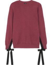 CLU - Grosgrain Bow-embellished Cotton-jersey Sweatshirt - Lyst