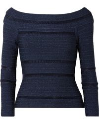 Hervé Léger - Off-the-shoulder Crochet-trimmed Metallic Bandage Top - Lyst